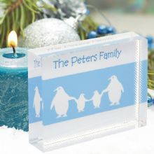 Penguin Family Crystal - Personalised Christmas Gift For All The Family